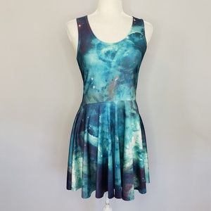 Sleeveless galaxy outer space dress women's Large